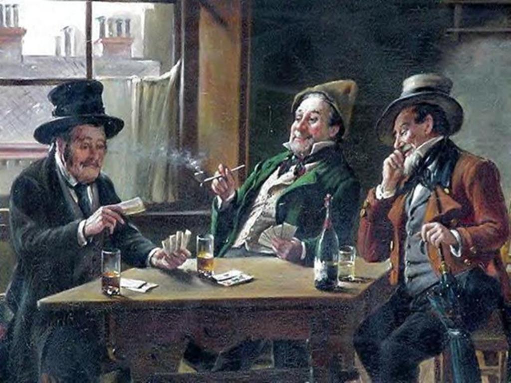 3 T. Golwig. Drei Männer spielen in bester Biedermeiermanier Karten.jpg