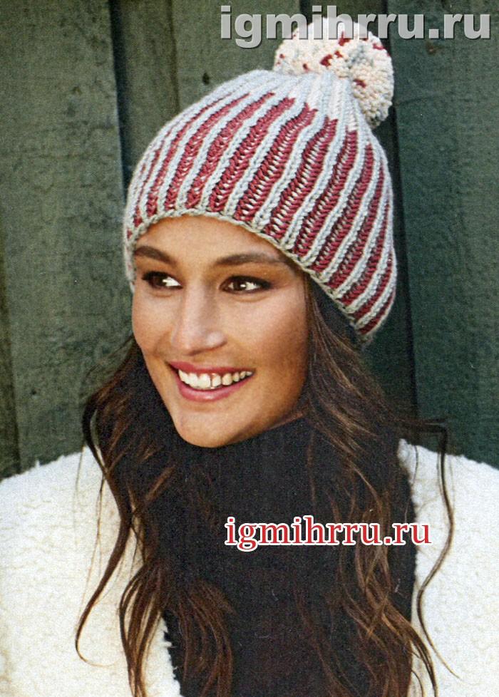 Двухцветная теплая шапочка с помпоном. Вязание спицами