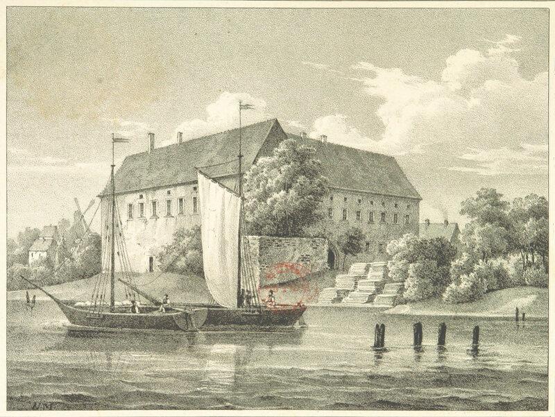 1833 Schloss Tilsit, davor eine Wittine auf der Memel.jpg