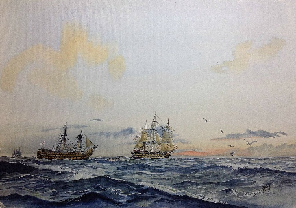 HMS NEPTUNE picking up the tow from the battle damaged HMS VICTORY.