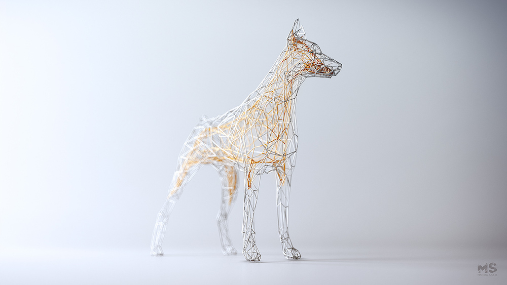 Цифровые скульптуры животных из «проволоки»