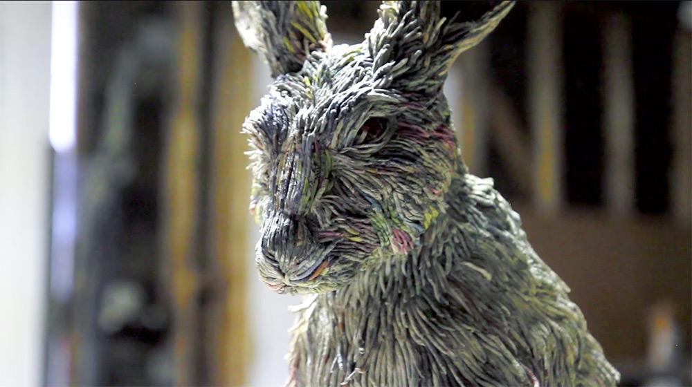 Скульптуры животных из скрученной газеты от Chie Hitotsuyama