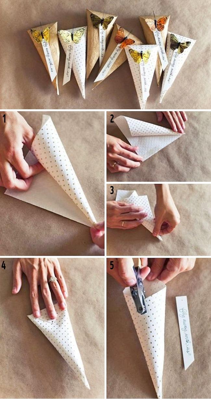 Сделать корнетик из бумаги