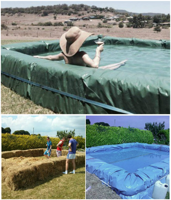 Diy swimming pool projects 5 pics for Hay bail pool