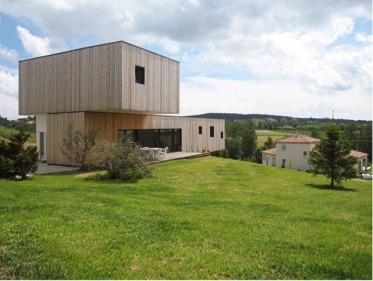 The land is located in a small hilly town in ArdEche, France. The main intention is to merge the hou