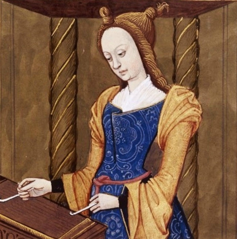 Cassandre musicienne. Fille de Priam, roi mythique de Troie, et d'H_cube. Elle joue du tympanon. (Cassandra, the daughter of King Priam and Queen Hecub.jpg