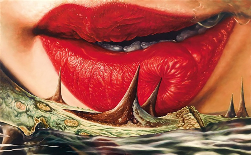 Red Lips: Realistic Paintings by Kim Sung Jin