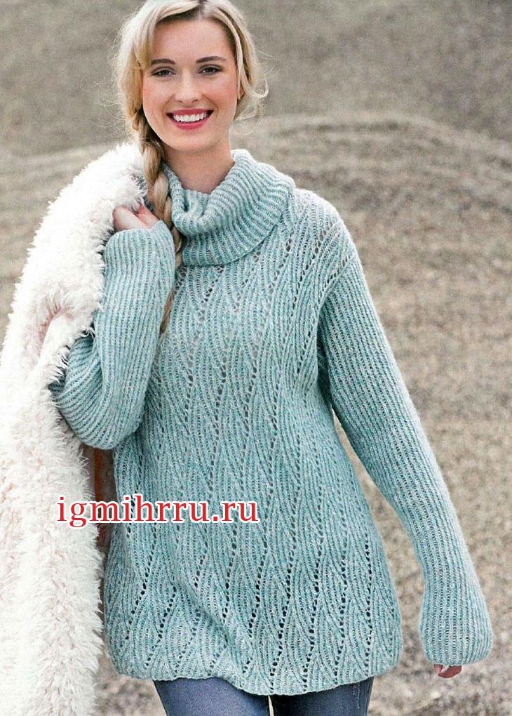 Голубой теплый свитер с ромбами и резинкой. Вязание спицами
