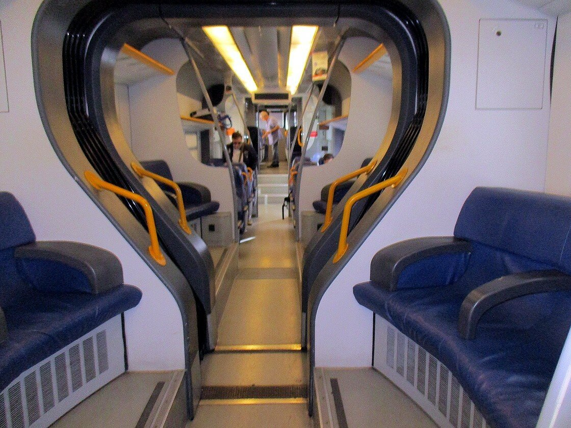 Train Agrigento-Palermo. The interiors of the car