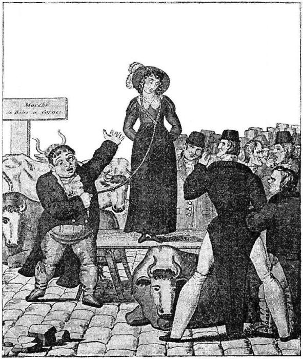 В Англии XIX века разводиться было дорого. Поэтому жен продавали на аукционе (3 фото)