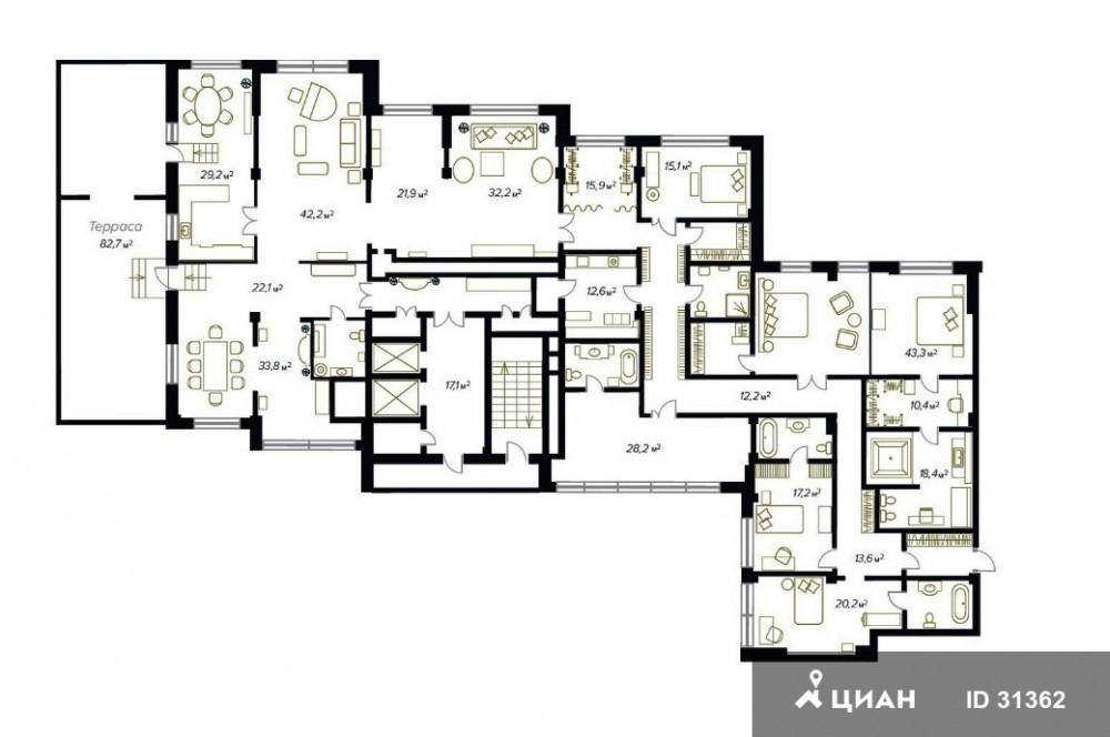 Стоимость квартир в этом доме начинается с отметки 100 млн рублей и доходит до 1 млрд. Судя по анали