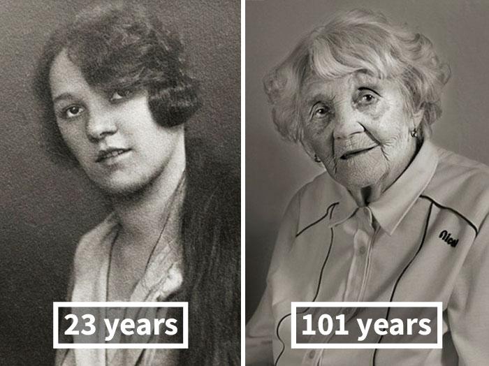 Власта Чижкова, 23 года (окончила старшую школу для девочек) и 101 год.