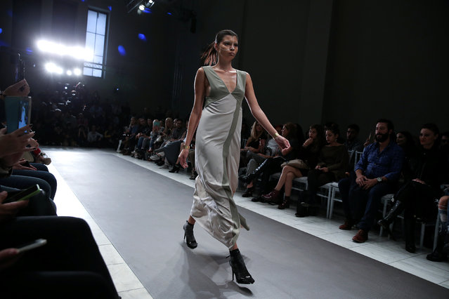A model presents a creation by Greek designer Dimitrios Ordoulidis during the 10th Athens Exclusive