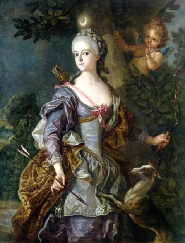 +1765 Carle or Charles-André van Loo (French painter, 1705-1765) Luise Henriette Wilhelmine von Anhalt-Dessau as Diana,.jpg