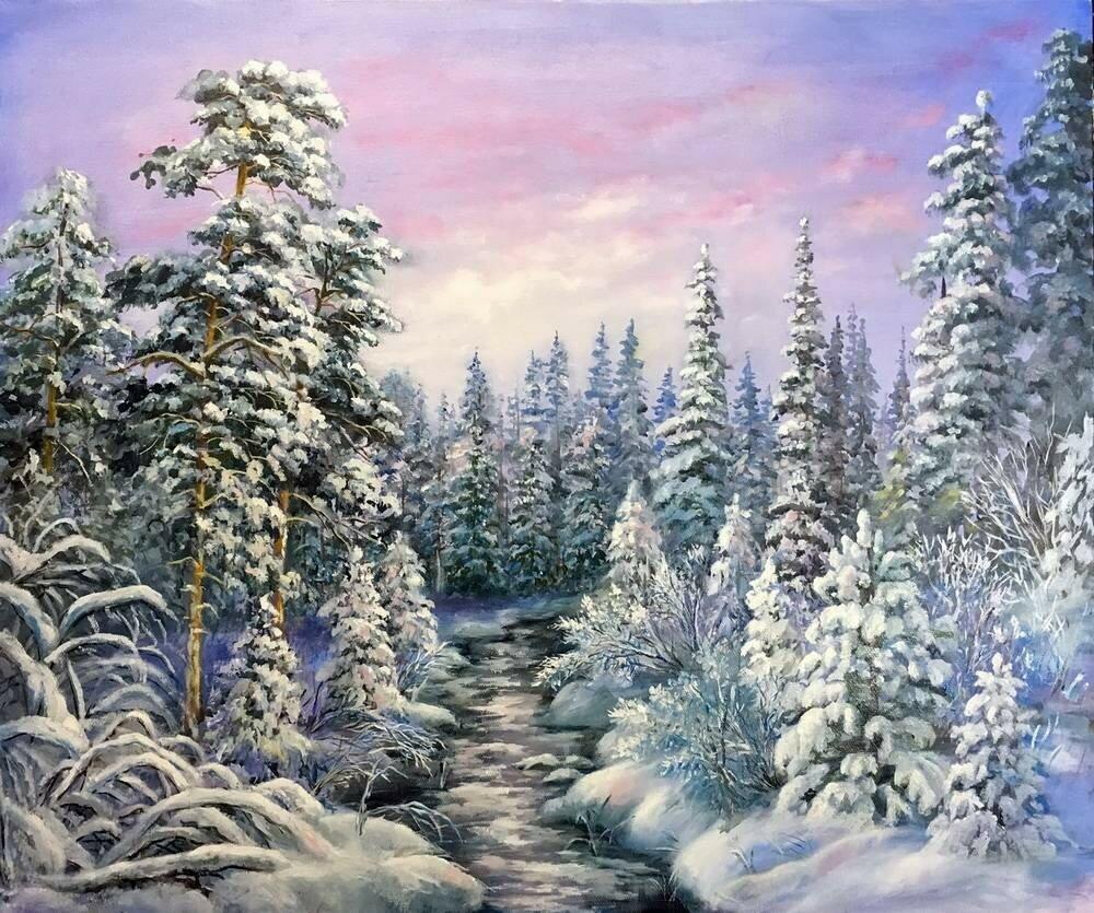 Открытку, картинки с пейзажем зимы нефедова
