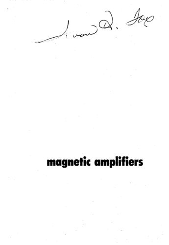 Magnetic Amplifiers - Paul Mali - Book Cover