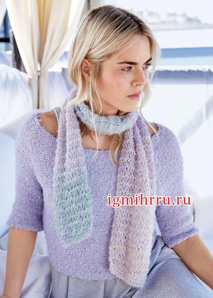 Комплект в нежных лиловых тонах: пуловер и шарф. Вязание спицами