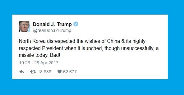 Северная Корея, и отклик Президента Трампа на неудачный запуск их баллистической ракеты.
