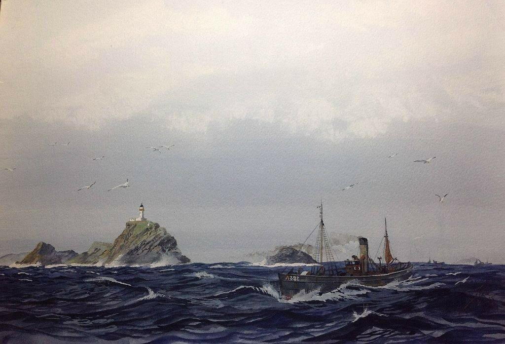 A bit more peacefull than more recent paintings of mine. Another view of Muckle Flugga, I think it's the most northerly point in UK.