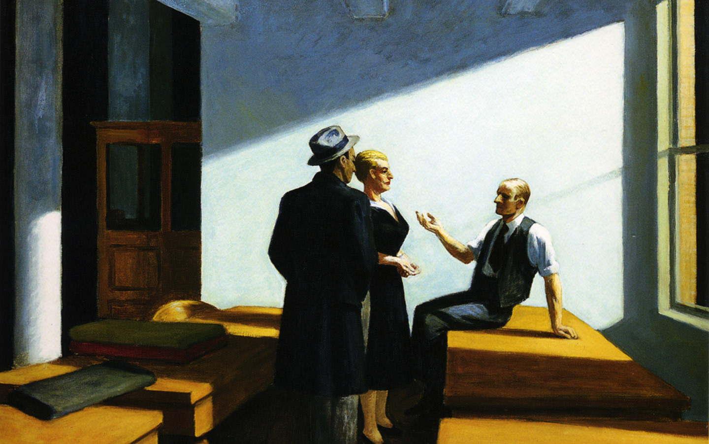 """Вечернее собрание, 1949 г. Наиболее известное полотно Хоппера - """"Полуночники"""". В свое время ее репро"""