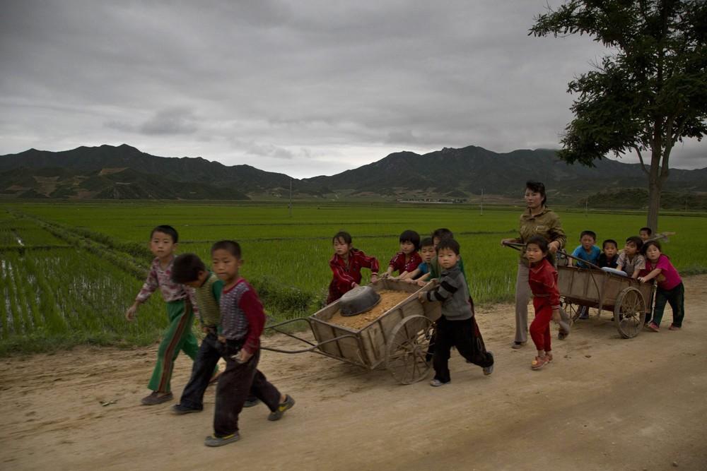 18. Школьники помогают починить выбоины на сельских дорогах в провинции Хамгён-Пукто. (Photo by Davi