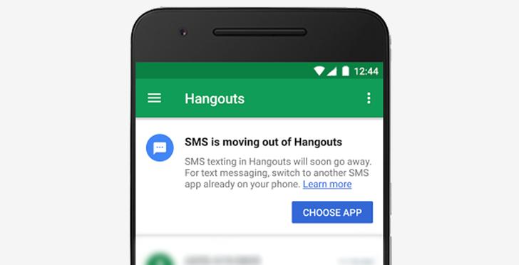 ВHangouts больше небудет SMS