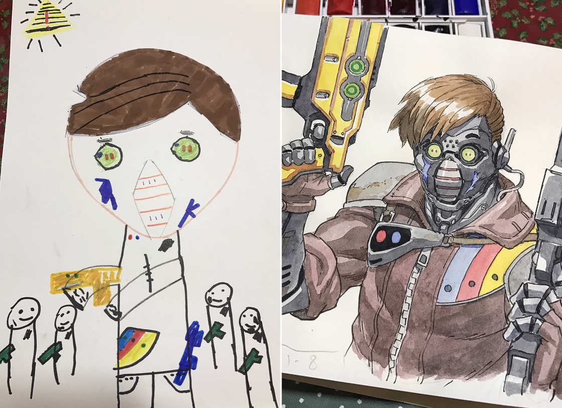 He transforms the drawings of his son into badass manga characters