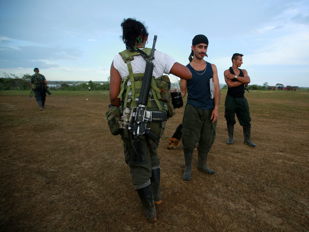 Fighters from FARC arriving at the camp where they prepare for an upcoming congress ratifying a peace deal with the government near El Diamante in Yari Plains, Colombia