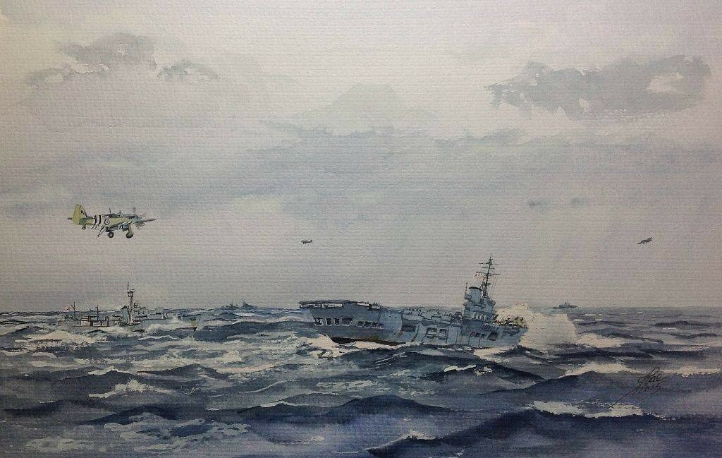 HMAS Sydney and Tobruk off the West Coast of Korea.