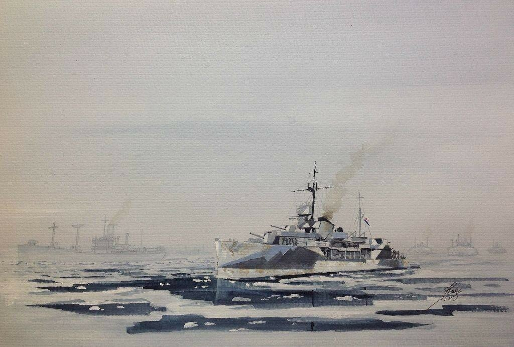 GORDY Class escort of the Navy of the USSR, about 1942 escorting a convoy near one of the ports in Northern Russia.