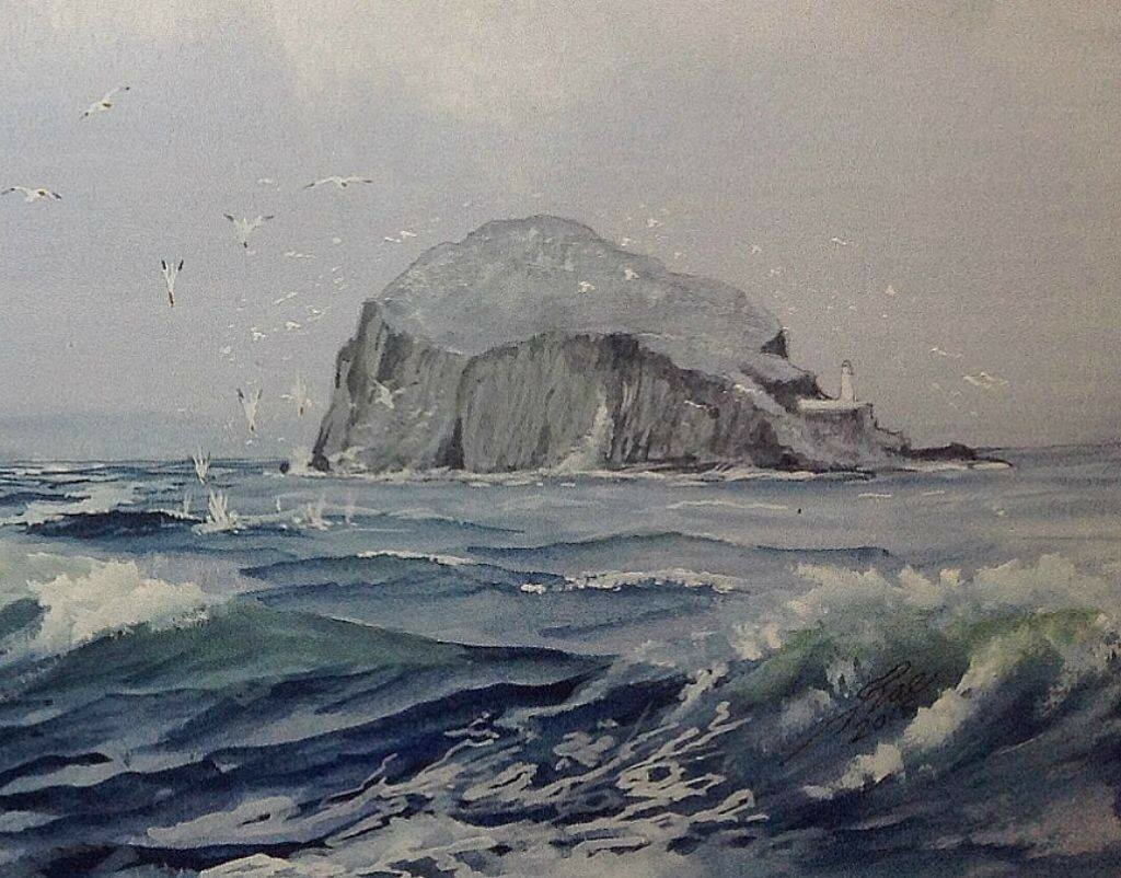 Bass Rock with fishing Gannets. Part of the painting of a Timber ship passing the Bass.