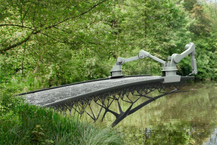Процесс печати моста в Амстердаме. Уникальное во всех отношениях инженерное решение придуманное умел