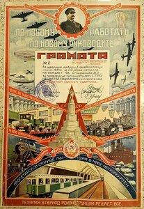 1935 г. За Ударную работу в перевыполнении плана
