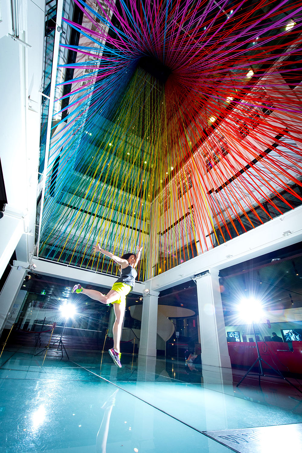 A Rainbow of Tape Cascades Through a Six-Story Atrium in Sydney