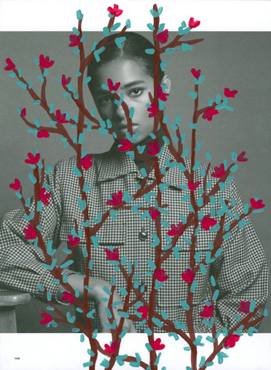 Fashion Magazines Portraits Filled by Painted Floral Patterns