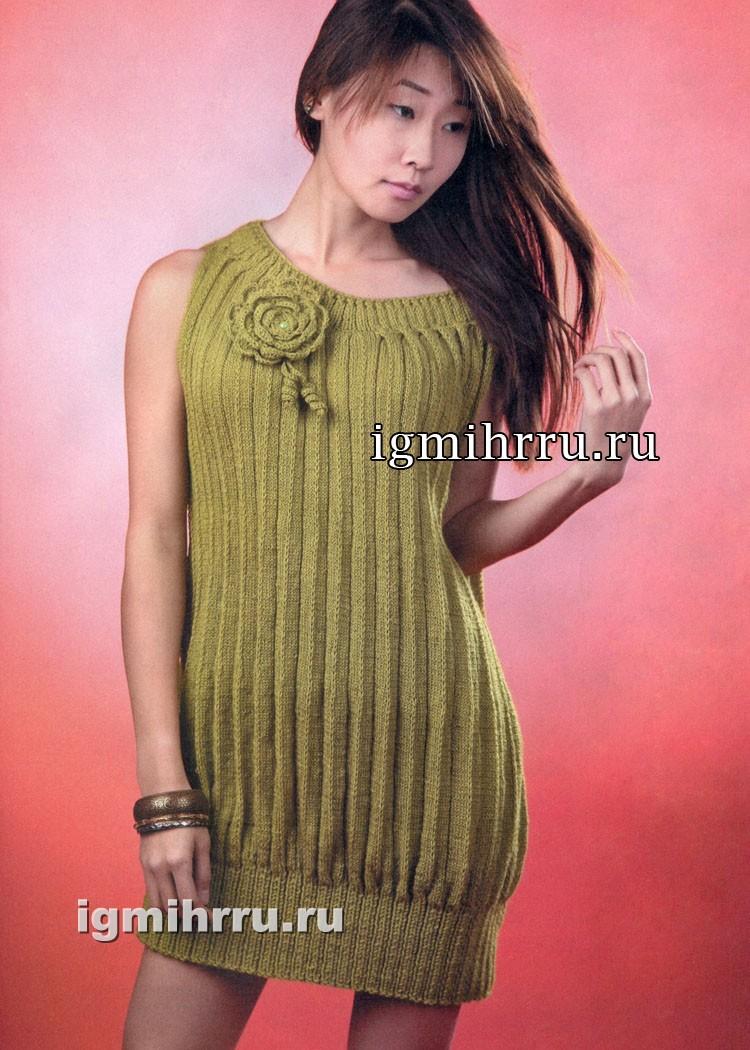 Стильное платье-баллон с эффектом плиссе. Вязание спицами