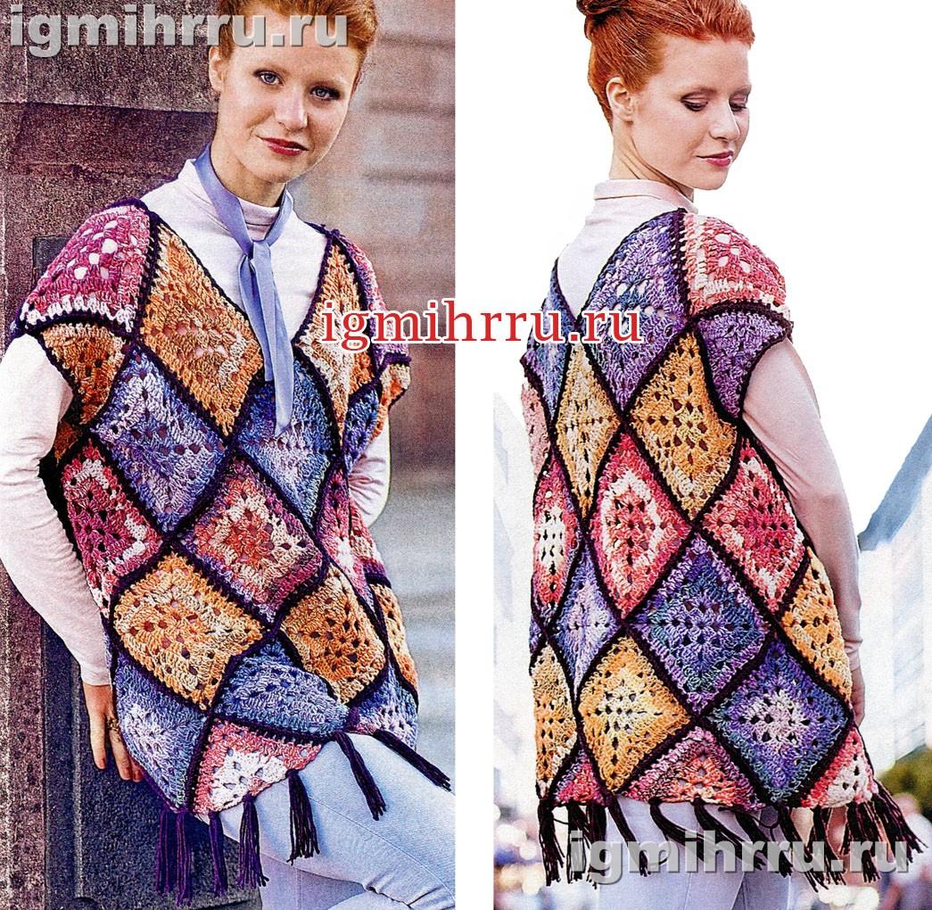 Шерстяной пуловер из разноцветных квадратных мотивов. Вязание крючком