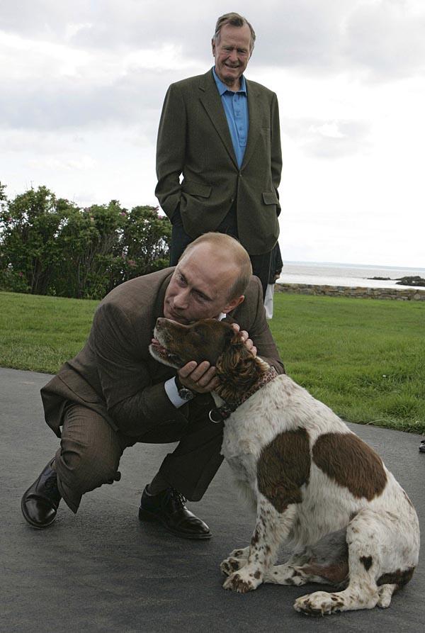 12. Путин и иностранная собачка. Владимир Путин с собакой по прибытии в дом к бывшему президенту США