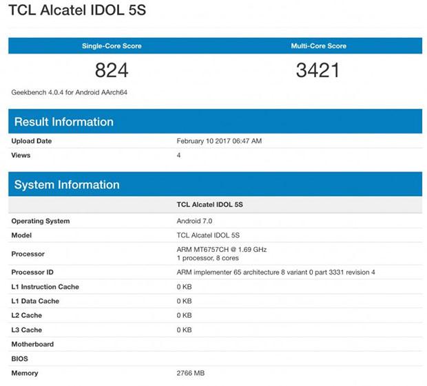 Alcatel Idol 5S счипом Helio P20 засветился вGeekbench