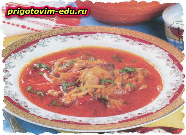 Суп-гуляш с перцем и фасолью
