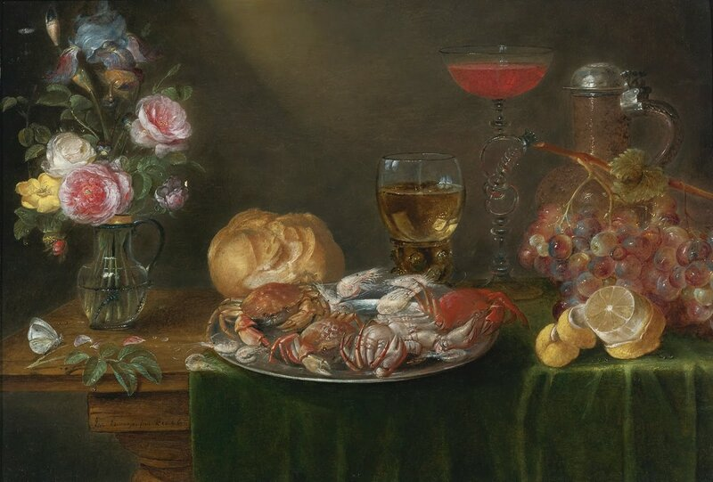 2 Alexander_Adriaenssen_A_Still_Life_with_a_Platter_of_Crabs_and_Shrimp,_a_Glass_Jug_of_Flowers.jpg
