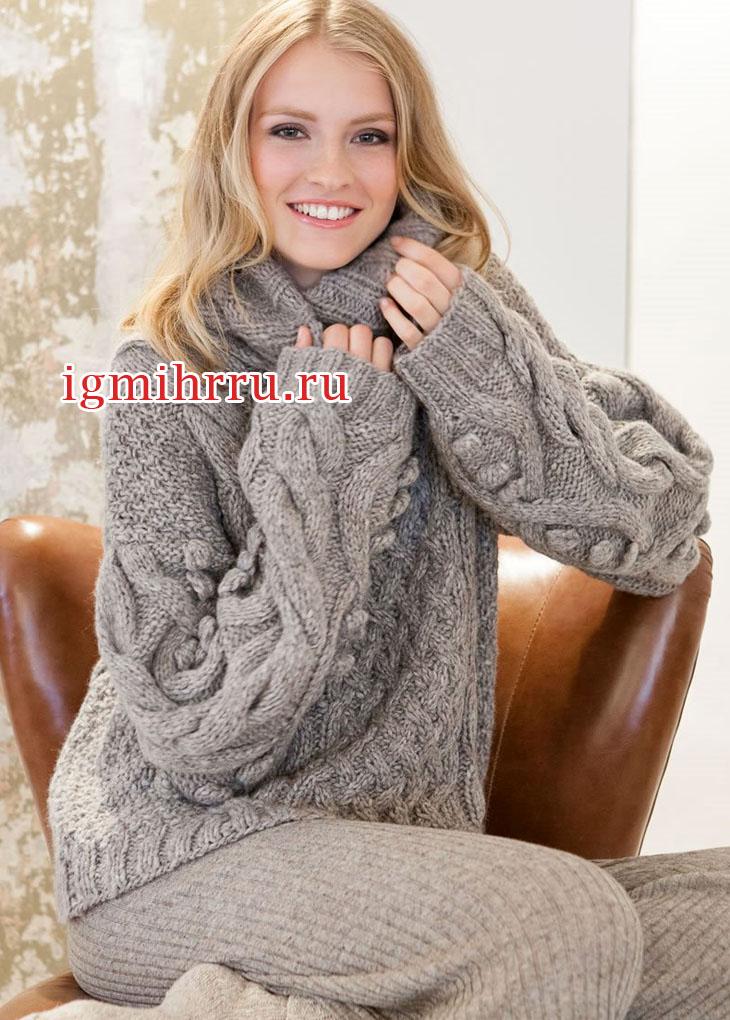 Теплый свободный свитер с узорами из ромбов. Вязание спицами