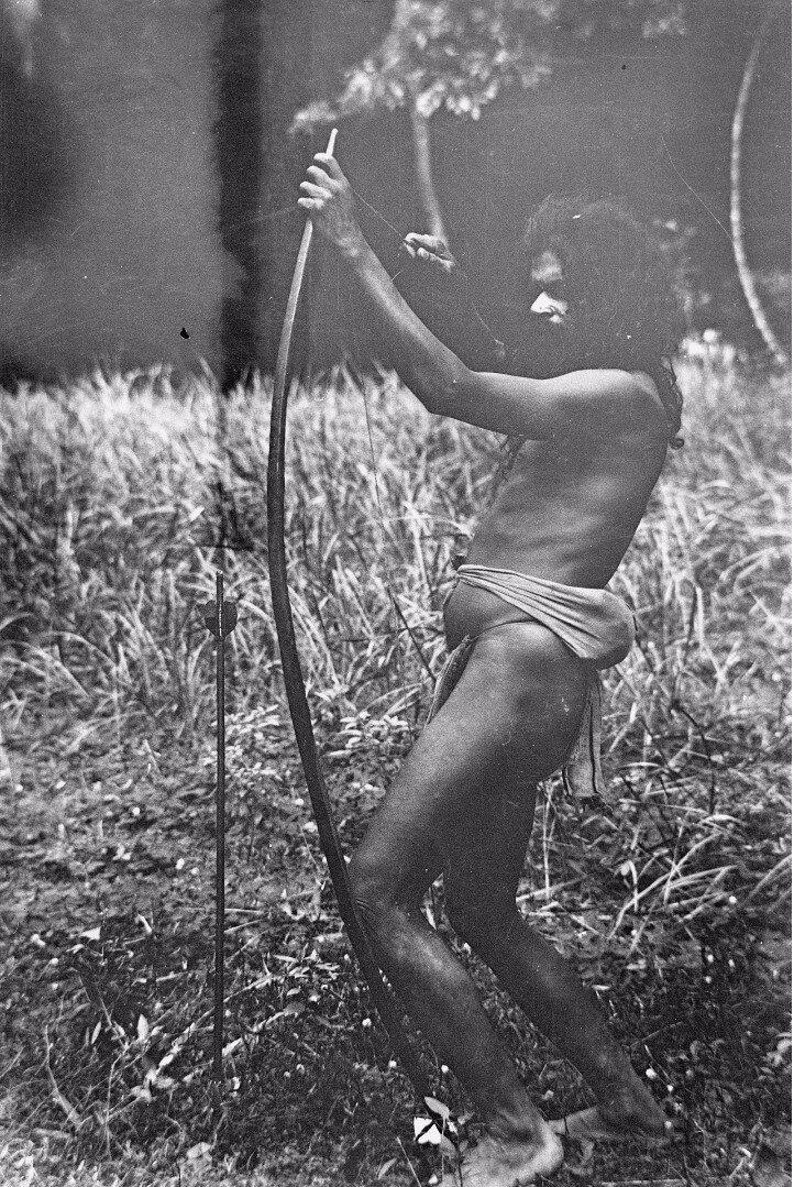 81. Человек народности ведда стреляет из лука