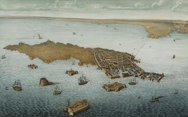 Птичья перспектива, острова гаваней и укрепления Кронштадта (с видом отдаления) на устье Невы и С-Петербурга. 1855 год. (увеличенный фрагмент)