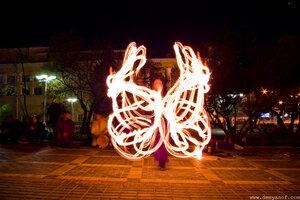 Бабочка , фаер-шоу, Чебоксары, город, ночь, огонь