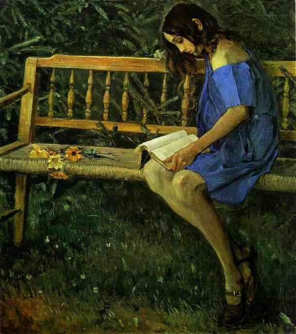 М. Нестеров. Портрет Наташи Нестеровой (Девушка на скамейке).