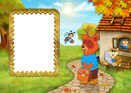 Фоторамка с мишкой, котиком, пчелкой и совой около лесной школы