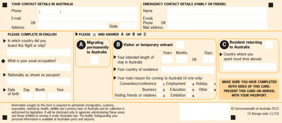 Австралийская миграционная карта
