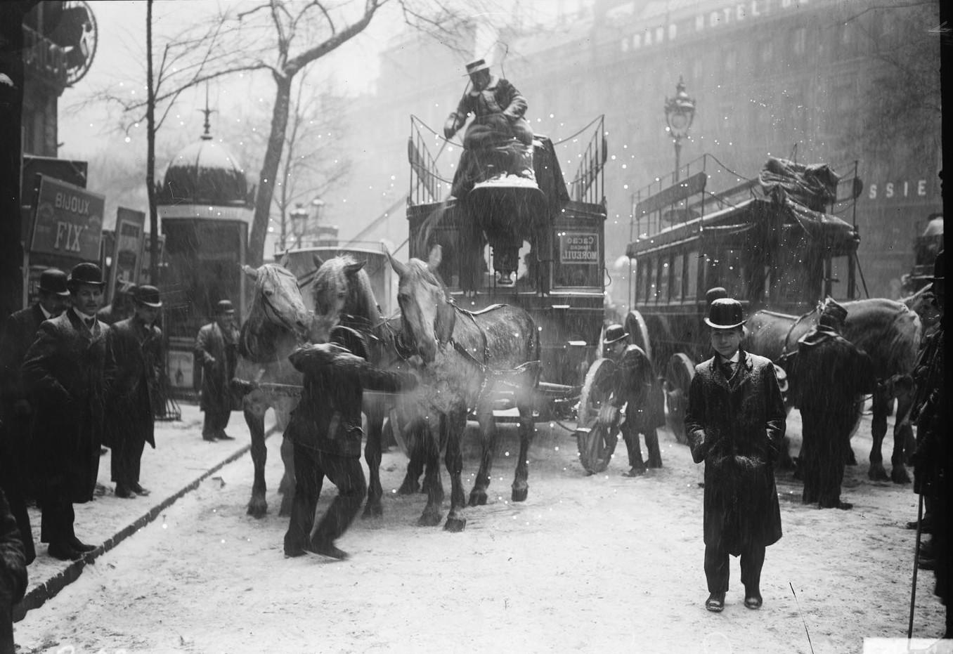 1908. Проблемы с гужевым транспортом в зимнюю непогоду