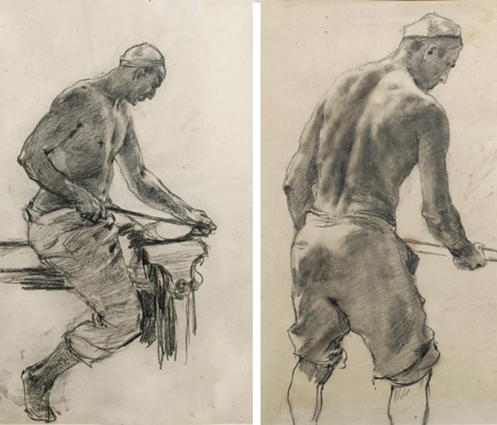 Рабочий сидящий  и Рабочий в тюбетейке, 1920-е годы.png